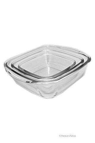 3 Piece Oven-to-Freezer 0.7-2.5 qt Clear Nesting Glass Kitchen Casserole Set