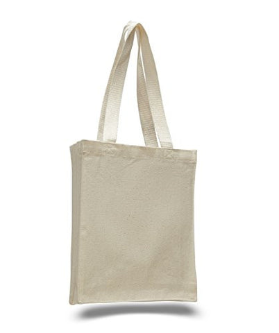 (1 Dozen)12 Pack- Reusable Canvas Tote Bag / Book Bag with Gusset (Natural)