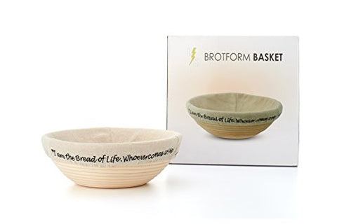 "!!! ""I am the Bread of Life"" Banneton Brotform Proofing Basket - Large 10 Inch Round Cane With Linen Liner- Rising Rattan Patterns Dough - Artisan Sourdough Starter Bread Baking"
