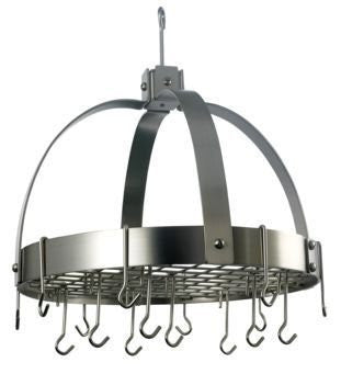 18.5 x 21 Dome Satin Nickel Pot Rack w/Grid 16 Hooks