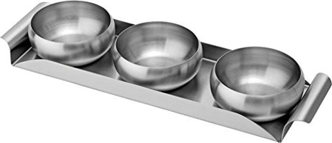 """ KAPALINI "" STAINLESS STEEL SERVING TRAY WITH 3 BOWLS SET"