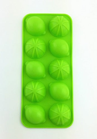 (Save Now! Discount Savings!) Bonison Versatile Hot & Cold Use Non-stick Non-slippery Soft Silicone Lemon or Lime shaped Ice Cube Mold Tray (2 Molds 10 Cavity Each Per Packaging, Random Colors)