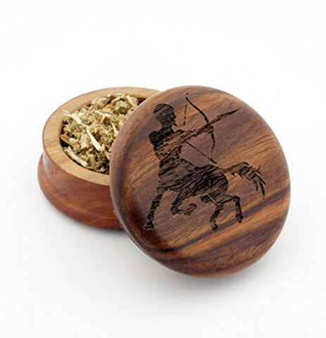 Sagittarius Design Engraved 63 mm Hand Made Wooden Grinder# WG121615-9