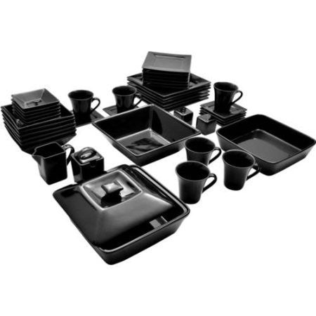 10 Strawberry Street Nova Square Banquet 45-Piece Dinnerware,NOVA-45SQ-BB, Black Color Set