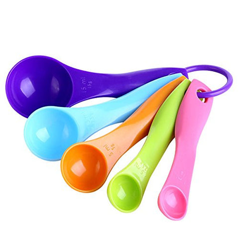 """5Pcs Colorful Measuring Spoons Set Kitchen Tool Utensils Cream Cooking Baking Tool"" shopping"