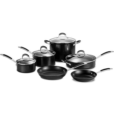 10 Piece Black Cookware Set, Aluminum Glass Stainless Steel Material, Eco-Friendly, Includes Lid, Induction Safe, Non-Stick Surface, Oven Safe, Good Quality, Everyday Use, Easy Cleanup