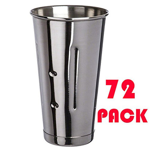 (72 Pcs.) 30 Oz. SafePro Malt Cup Stainless Steel Milkshake Ice Cream Mixer Mixing Cup 72 PACK