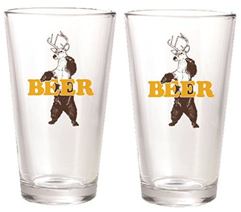 """Deer + Bear = Beer"" Beer Pint Glasses"