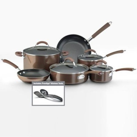 105 Millennium 12-Piece Porcelain Nonstick Cookware Set /Color:Bronze