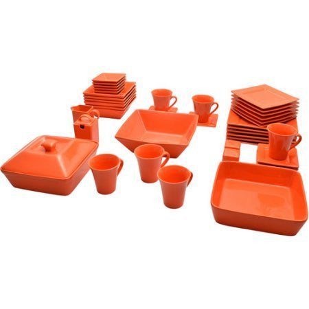 10 Strawberry Street Nova Square Banquet 45-Piece Dinnerware NOVA-45SQ-BB Orange Color Set