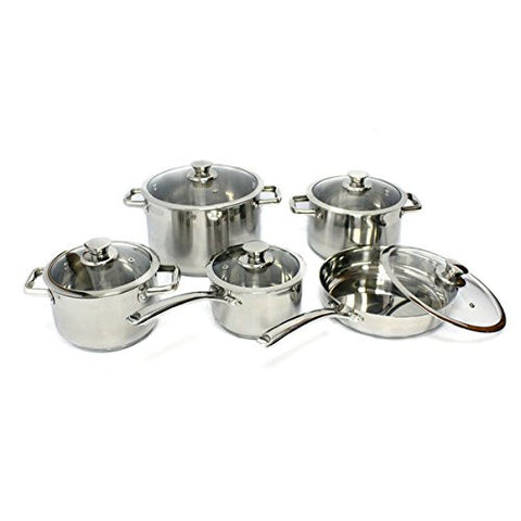10-piece Stainless Steel Cookware Set by Gourmet Chef , KP-9014, Silver