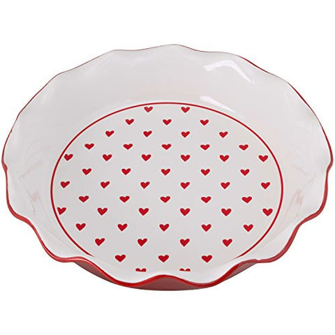 10 Strawberry Street PIE-HEART-RED Hearts Pie Dish, Red