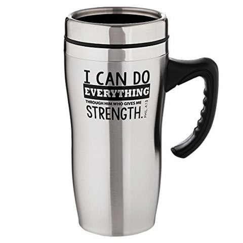 """I Can Do Everything Through Him"" Stainless Steel Travel Mug w/Handle - Philippians 4:13, Psalm 28:7"