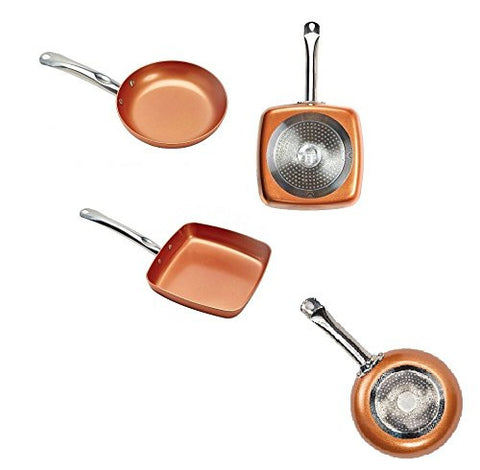 "2 Pc Copper Chef Pan Set 9.5'' Square & 10"" Round Induction Cookware Non-Stick"