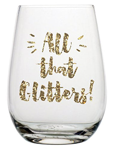 """All That Glitters"" 20 oz Stemless Wine Glass with a Gold Glitter Print"