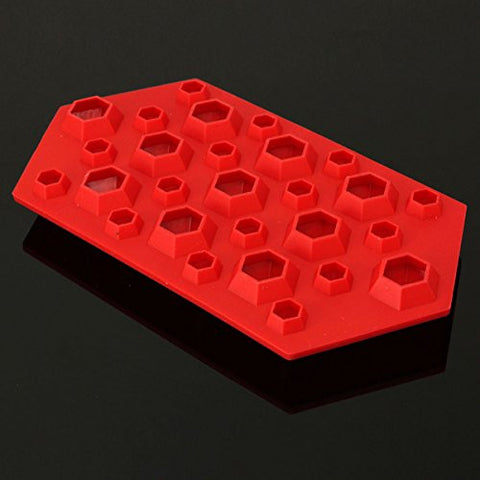 """3D Silicone Diamond Cube Ice Tray Mold Chocolate Mould Ice Tray(Red)"" shopping"