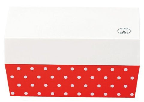 """Lunch box two-stage"" Paris dot cafe lunch angle White ~ Red"