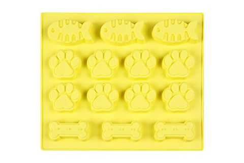 -SALE- Sparkling Joy 3 Fishes 3 Bones 8 Paws Cavities Silicone Baking Mold, Ice Cube Trays, Chocolate, Candy Maker, Large Mat Trays