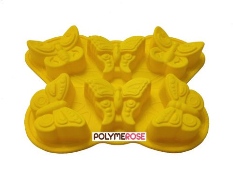 1 X BUTTERFLIES Mold Pan. Cake Baking Pan Dessert, Muffin, Jello Cupcake Mold. Baking and Crafts Mold - 6 Cavity - Silicone by Polymerose