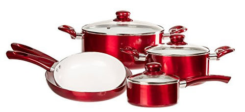 12 Pc Ceramic Coated Cookware Set - Healthy Set of Pots and Pans w/ Glass Lids & Cooking Utensils (Red)
