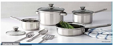 10 Piece Nonstick Cookware Set, Stainless Steel, Includes Saucepans, Frying Pan, Dutch Oven, Glass Lids, Serving Spoons and Slotted Spatula, for Home, Kitchen or Restaurant