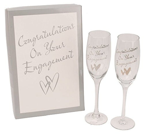 """Congratulations On Your Engagement"" Glass Champagne Flutes By Haysom Interiors"