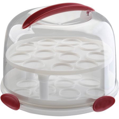 """Clear Cake Carrier with Tight Clasping Latches, Accommodates two 9"""" round cakes, 24 cupcakes and 20 cake pops """