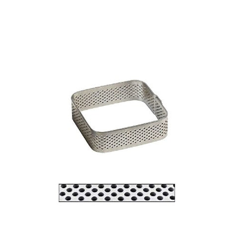 """ Crostate"" Perforated Stainless Rounded Square Tart Ring"