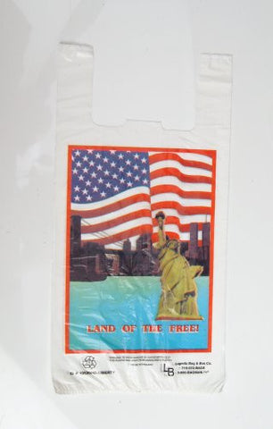 """WOW..1 penny Shipping!!!""-2000 bags per case, Size:10x5x20, 15 Microns, Liberty Plastic Shopping Bag, 6.5 Cents Per Bag."