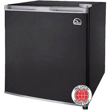 1.6-cu ft Capacity Refrigerator Compressor Cooling Flush back design Color Black