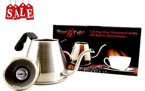 1.2 Liter Pour-Over Gooseneck Stainless Steel Coffee Kettle with built-in Thermometer by Pour D' Cafe