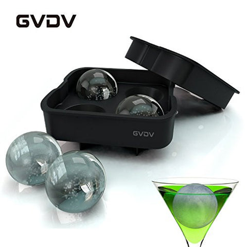 #1 Upgraded Version Ice Ball Maker - GVDV Ice Ball Maker Mold - 4 Whiskey Ice Balls - Premium Black Flexible Silicone Round Spheres Ice Tray- Molds 4 X 4.5cm Round Ice Ball Spheres(Black)