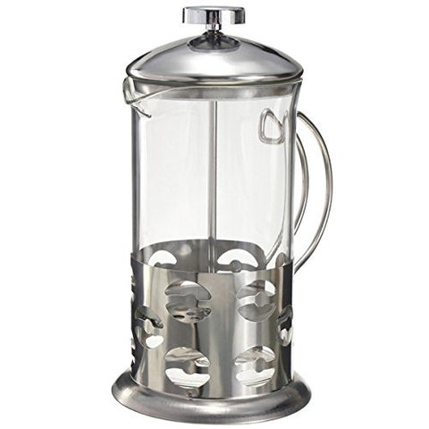 """600ml Stainless Steel Glass Teapot Cafetiere French Coffee Tea Filter Press Plunger"" shopping"