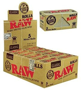 1 Box of RAW UNREFINED ROLLS KING SIZE SLIM 5 METER ROLL 24 ROLLS PER BOX - 0142