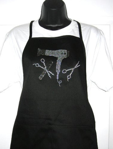 """ Hair Stylist Tools "" Rhinestone Two Pocket Poly Cotton Blend Apron"