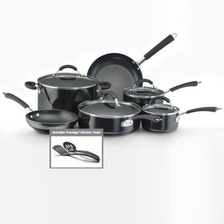 105 Millennium 12-Piece Porcelain Nonstick Cookware Set /Color:Black