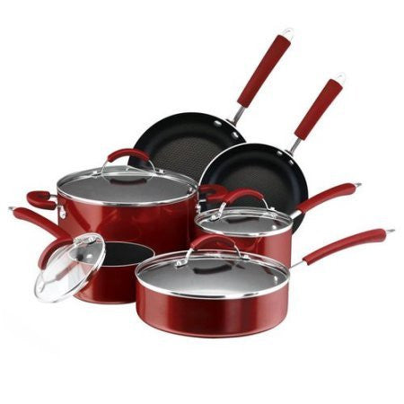 105 Millennium 12-Piece Porcelain Nonstick Cookware Set /Color: Red