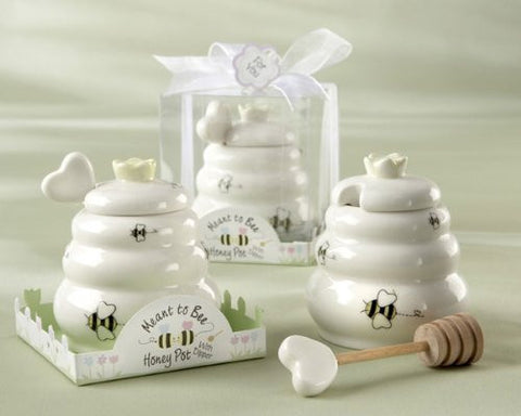 """Meant to Bee"" Ceramic Honey Pot with Wooden Dipper - Baby Shower Gifts & Wedding Favors (Set of 12)"