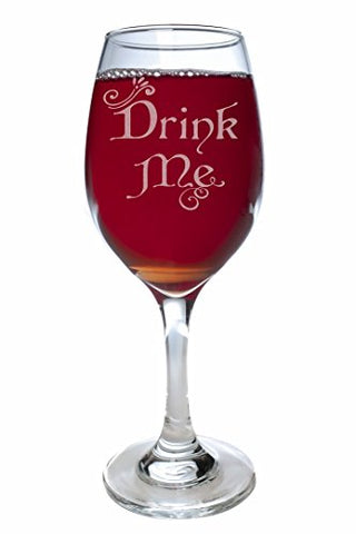 """Drink Me"" Alice in Wonderland 11 oz. Wine Glass (Clear Glass)"