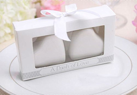 """A Dash of Love"" Ceramic Love Heart Salt and Pepper Shakers For Wedding Favors, Set of 36"