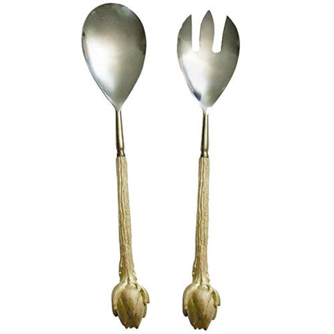 """Artichoke Serving Utensils"" (Set of 2) by Michael Michaud for Silver Seasons Table Art"