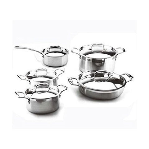 10 Piece 3 Ply Stainless Steel Cookware Set with Lids Oven and Induction Safe Non-Toxic