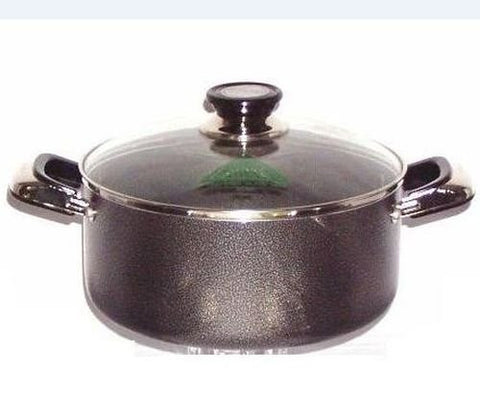 2 Handle Non-Stick Casserole Pot With Tempered Glass Lid - 22cm