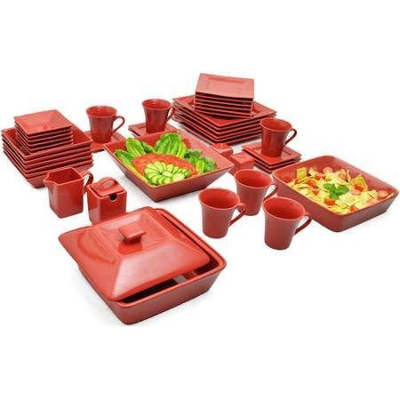 10 Strawberry Street Nova Square Banquet 45-Piece Red Color Set