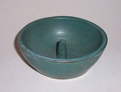 """ABC Products "" - Hand Made Clay - Individual Apple - Baking and Serving Dish - With Molded-In - Fast Baking Spike - In The Center - (Primitive Green Glazed Finish - Made In America)"