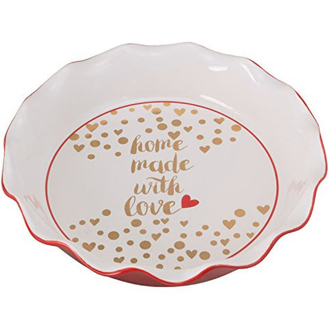 10 Strawberry Street PIE-MWL-RED Pie Dish Homemade with Love, Red