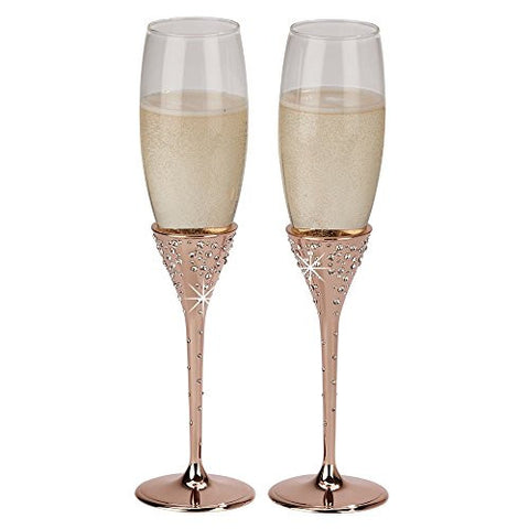 """Galaxy"" Gold Rose Flutes, Pair 10.5'' H"