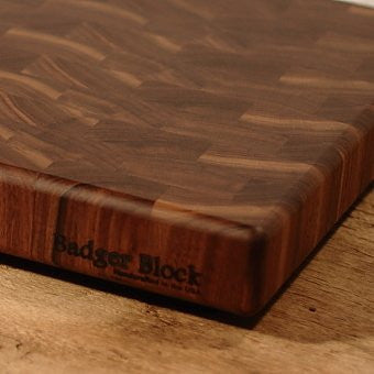 """Fat"" Badger Block (3"") Walnut End Grain Butcher Block Cutting Board with Rubber Feet (12 x 18 x 3 inches)"