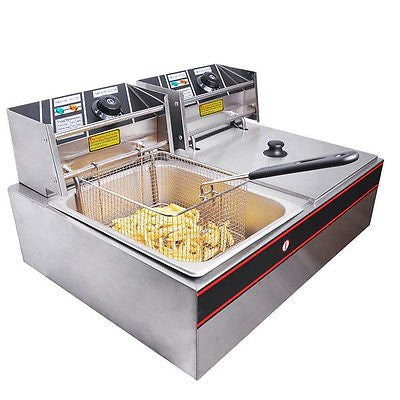 5000w 12 Liter Electric Counter Deep Fryer Dual Tank 6 Commercial Restaurant