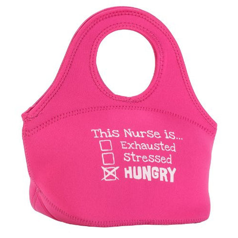 'This Nurse Is... Hungry' Neoprene Zippered Lunch Tote - Pink